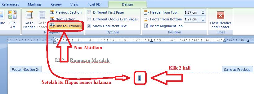 Cara membuat letak nomor halaman yang berbeda