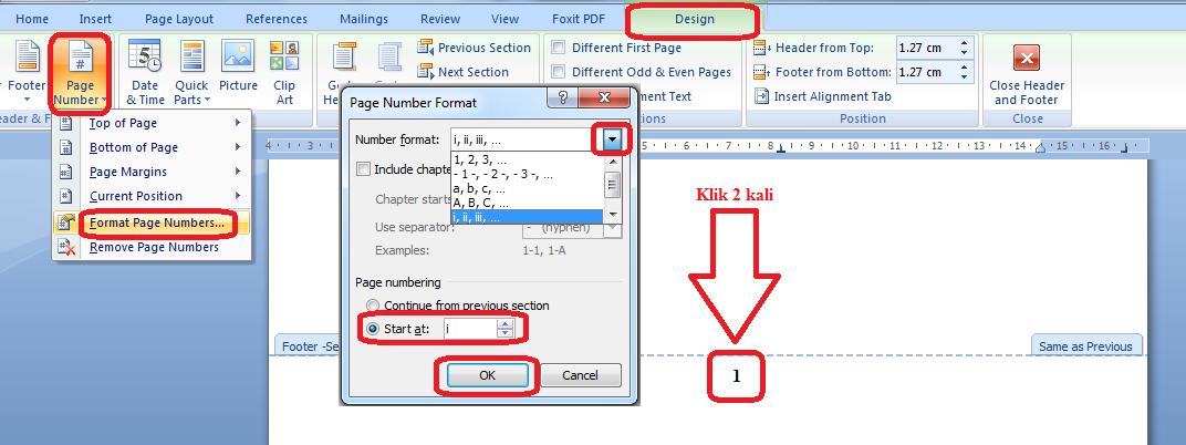 Cara mengubah nomor halaman menjadi angka romawi