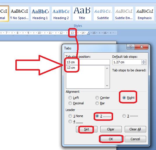 Cara setting tab menjadi titik-titik