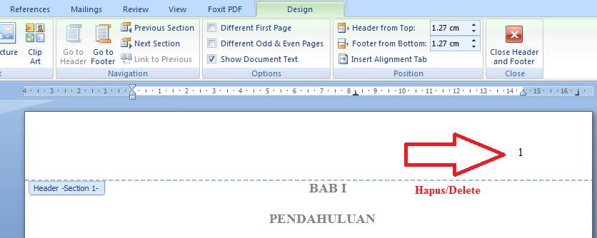 Hapus nomor halaman yang di atas kanan