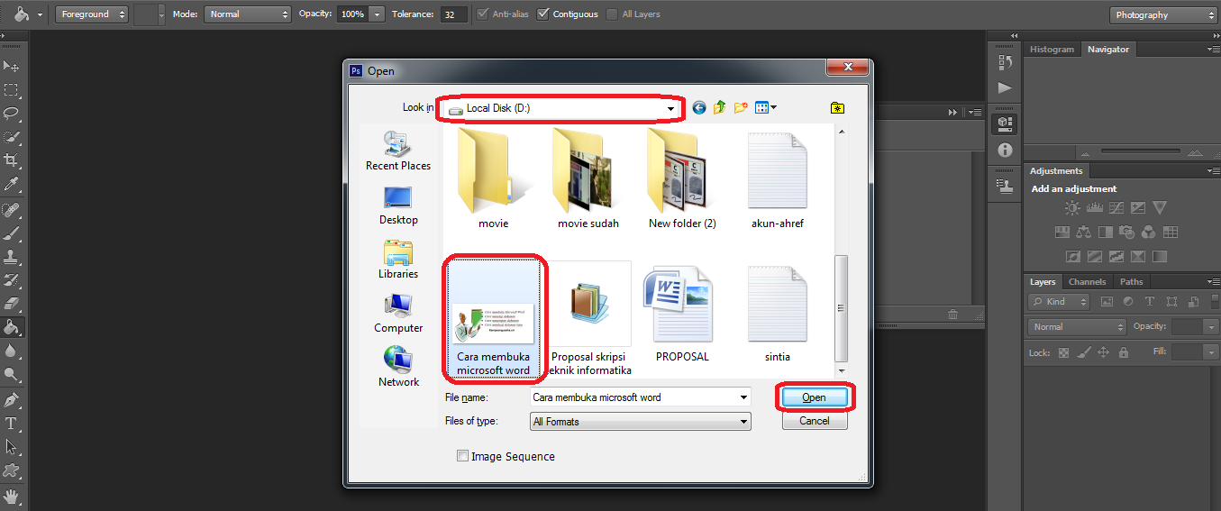 Pilih lokasi penyimpanan dan seleksi gambar lalu open