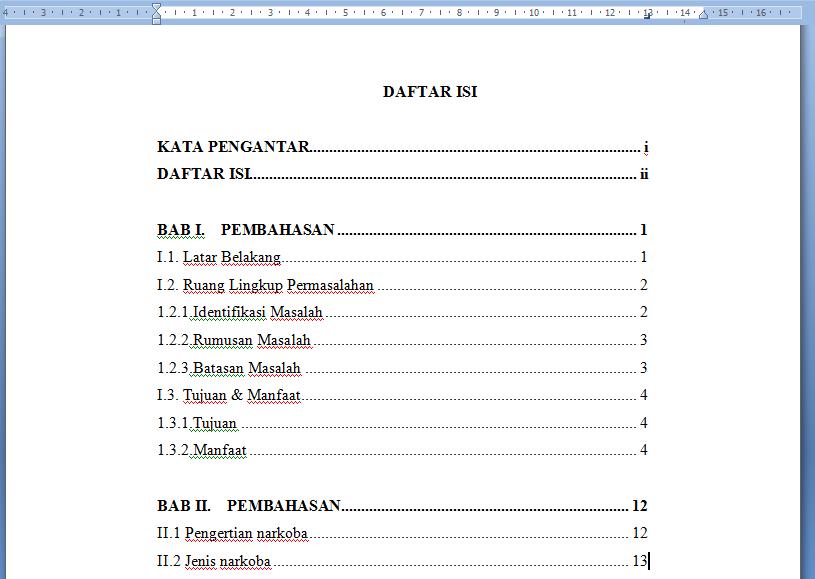 Screenshot cara membuat daftar isi manual