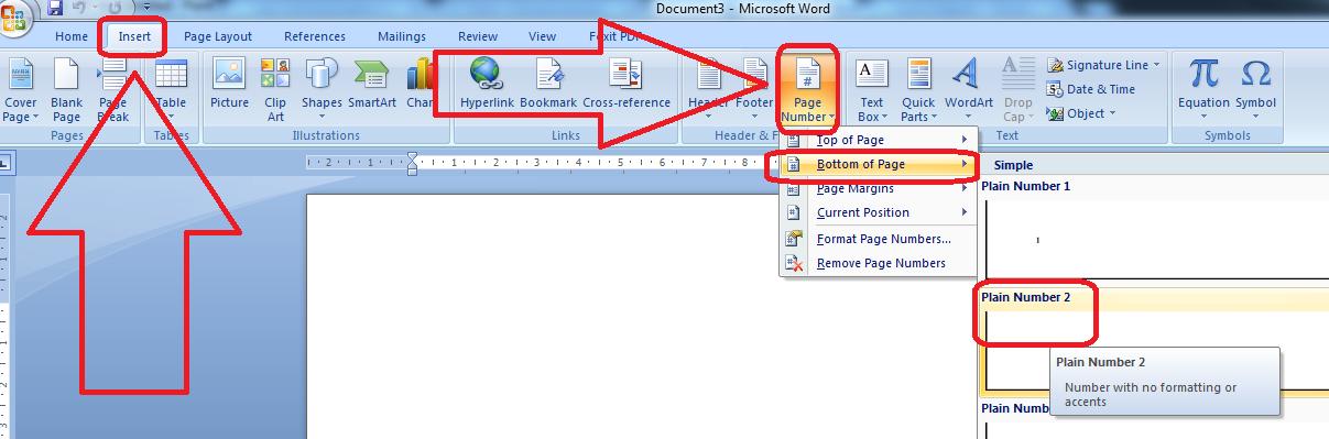Screenshot cara membuat nomor halaman