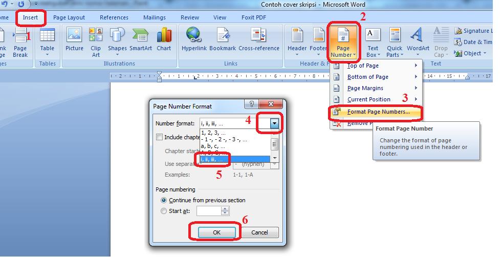 Screenshot cara mengubah jenis nomor halaman