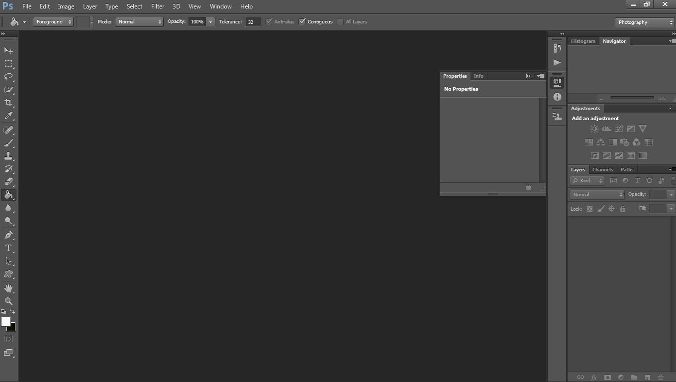 Tampilan aplikasi photoshop