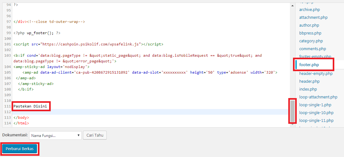 Lokasi meletakkan kode statcounter